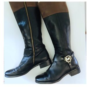 Michael Kors Black & Tan Riding Leather Boots